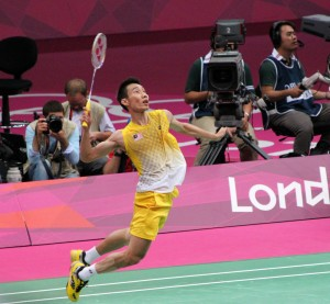 Lee Chong Wei leaping for a smash.