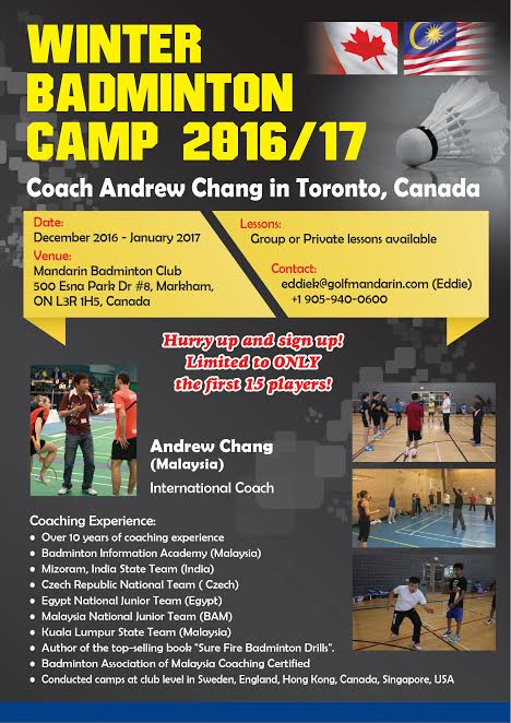 Winter Badminton Training in Toronto, Canada 2016/17